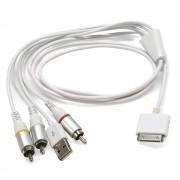 Cordon audio vidéo pour iPhone / iPod / iPad 1.50m blanc