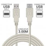 Rallonge USB 2.0 A/A mâle-femelle 3.00m beige