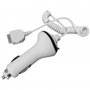 Chargeur voiture allume cigare blanc cordon spiralé pour iPhone 3/4 ou iPod