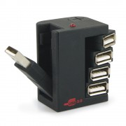 Hub USB 2.0 auto alimenté compact 4 ports articulés