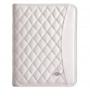 """Conférencier élégance blanc iPad tablette 9.7"""" + bloc A5 et compartiments"""