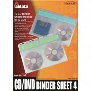 Jeu de 10 Pochettes A4 pour 4 CD/DVD avec etiquettes index, pour classeurs