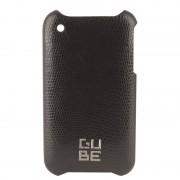 Coque cuir Lézard noir avec film de protection pour iPhone 3G 3GS G-CUBE GPN-3BK