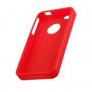 Coque silicone rigide rouge pour iPhone 4 4S STK IP4TPURD