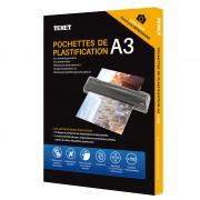 Feuilles de plastification A3 125 microns par face, 250µ total, boîte de 100