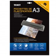 Feuilles de plastification A3 75 microns par face, 150µ total, boite de 25