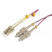 Jarretière optique multimode OM4 50/125 duplex Zipp rose SC/LC 15.00m