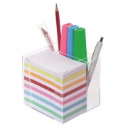 Bloc mémo plastique avec 700 feuilles couleurs 5.5x9cm et porte crayons