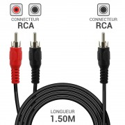 Cordon audio 1 x RCA mâle vers 2 x RCA mâle 1.50m