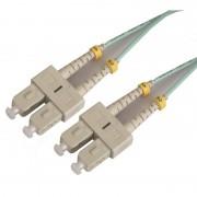 Jarretière optique multimode OM3 50/125 duplex Zipp aqua turquoise SC/SC 20.00m