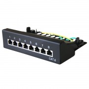 Panneau de brassage 10'' complet 8 ports noir Cat 6 FTP