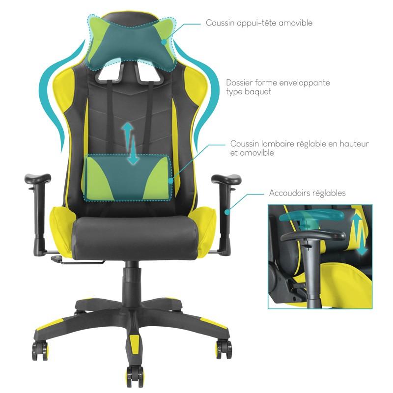 fauteuil de bureau baquet racing noir et jaune. Black Bedroom Furniture Sets. Home Design Ideas
