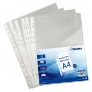 Chemise Pochette perforée A4, transparent grainé, 40 mic sachet de 50