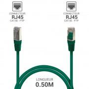 Cordon réseau RJ45 Cat. 5e blindé FTP vert 0.50 m