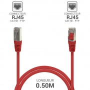 Cordon réseau RJ45 Cat. 5e blindé FTP rouge 0.50 m