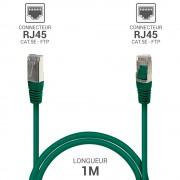 Cordon réseau RJ45 Cat. 5e blindé FTP vert 1.00 m