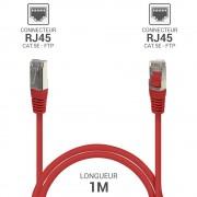 Cordon réseau RJ45 Cat. 5e blindé FTP rouge 1.00 m