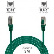 Cordon réseau RJ45 Cat. 5e blindé FTP vert 3.00 m