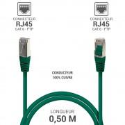 Cordon réseau RJ45 Cat. 6 100% cuivre blindé FTP vert 0.50 m