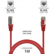 Cordon réseau RJ45 Cat. 6 100% cuivre blindé FTP rouge 1.00 m