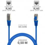 Cordon réseau RJ45 Cat. 6a double Blindé S/FTP LSOH bleu 0.50m