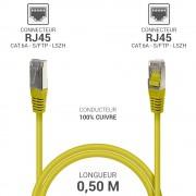Cordon réseau RJ45 Cat. 6a double Blindé S/FTP LSOH jaune 0.50m