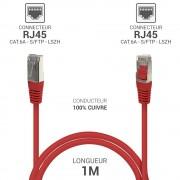 Cordon réseau RJ45 Cat. 6a double Blindé S/FTP LSOH rouge 1.00m
