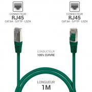 Cordon réseau RJ45 Cat. 6a double Blindé S/FTP LSOH vert 1.00m
