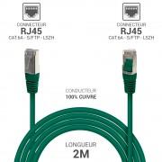 Cordon réseau RJ45 Cat. 6a double Blindé S/FTP LSOH vert 2.00m