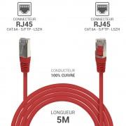 Cordon réseau RJ45 Cat. 6a double Blindé S/FTP LSOH rouge 5.00m