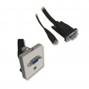 Plastron 45x45 HD15 F/M + Jack 3.5mm F/M avec câble 20.00cm