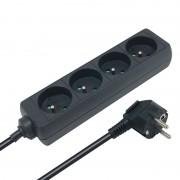Multiprise électrique sans interrupteur 4 prises 1.50m noire CE