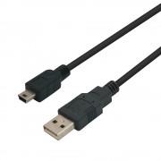 Cordon mini USB 5 pin mâle à USB 2.0 mâle 2.00m noir emballage blister