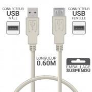 Rallonge USB 2.0 A/A mâle-femelle 0.60m beige