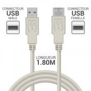 Rallonge USB 2.0 A/A mâle-femelle 1.80m beige