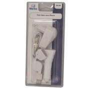 Pack blanc chargeur sect al cigare / cordon rétract / main libre pour iPhone 3/4