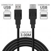 Rallonge high speed USB 2.0 A/A mâle-femelle 3.00m noir