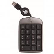 Pavé numérique 18 touches extra plat noir/argent avec cordon rétractable