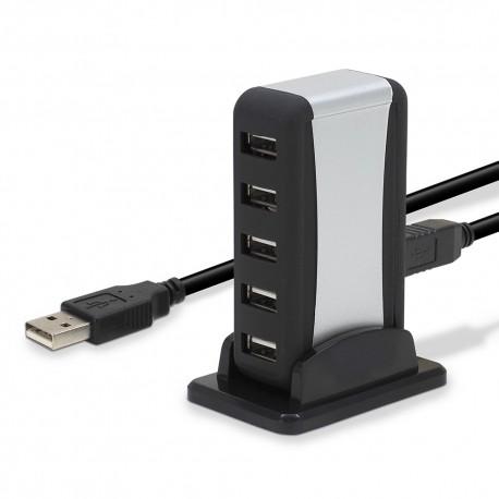 Hub USB 2.0 alimentation externe pose horizontale ou verticale 7 ports