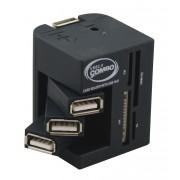Hub USB 2.0 auto alimenté compact 3 ports articulés + lecteur multi cartes flash