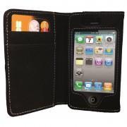 Housse de protection noir pour iPhone 4/4S avec rabat et emplacement CB - Waytex