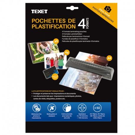Feuilles De Plastification 50pces 75 Mic 10xA4 10xA5 10xA6 20xcarte