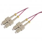 Jarretière optique multimode OM4 50/125 duplex Zipp rose SC/SC 20.00m