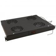 """Plateau 4 ventilateurs avec thermostat pour armoire 19"""""""