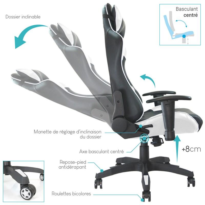 fauteuil de bureau baquet racing noir et blanc. Black Bedroom Furniture Sets. Home Design Ideas
