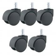 Jeu de 5 roulettes universelle pour fauteuil couleur noir 11/50mm