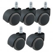Jeu de 5 roulettes universel sols durs  pour fauteuil couleur noir/blanc 11/50mm