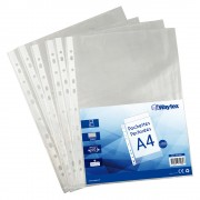 Chemise Pochette perforée A4, transparent grainé, 40 mic sachet de 100