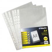 Chemise Pochette perforée A4, transparent grainé, 60 mic sachet de 100