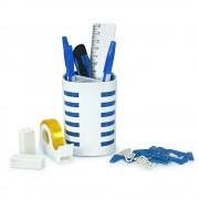 Kit Pot à crayons remplis complet  105x78mm Blanc/bleu